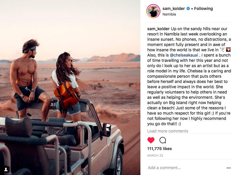 Instagram post by Sam Kolder featuring BennyBee rucksack