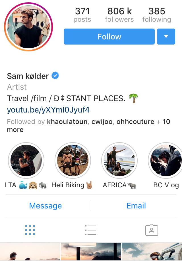 Sam Kolder Instagram Influencer profile
