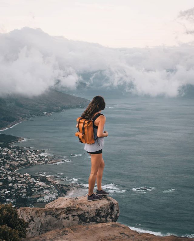 Handmade leather backpack by Benny Bee carried by Chelsea Kawai, instagram influencer