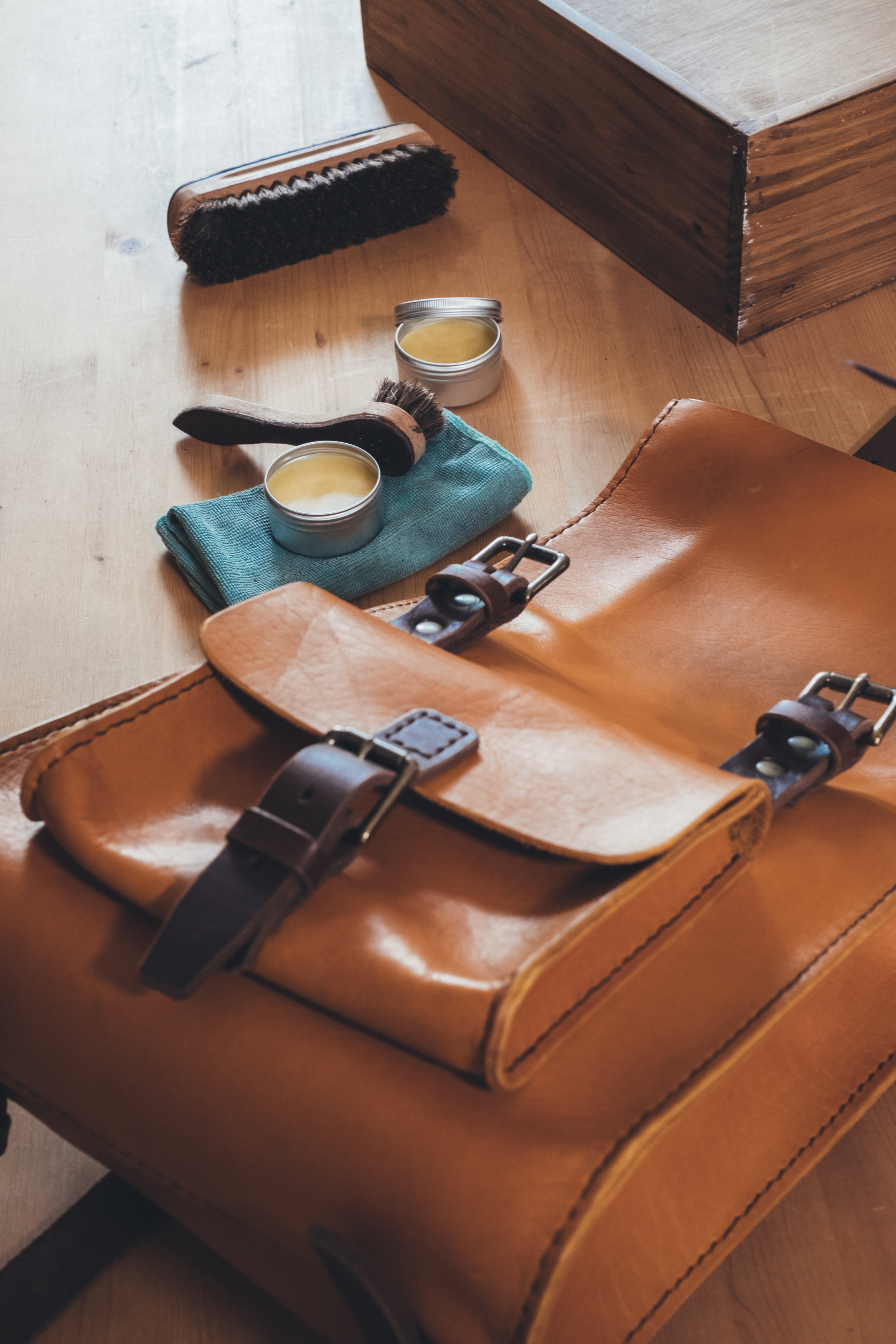 handmade leather rucksack with free beeswax leather creme