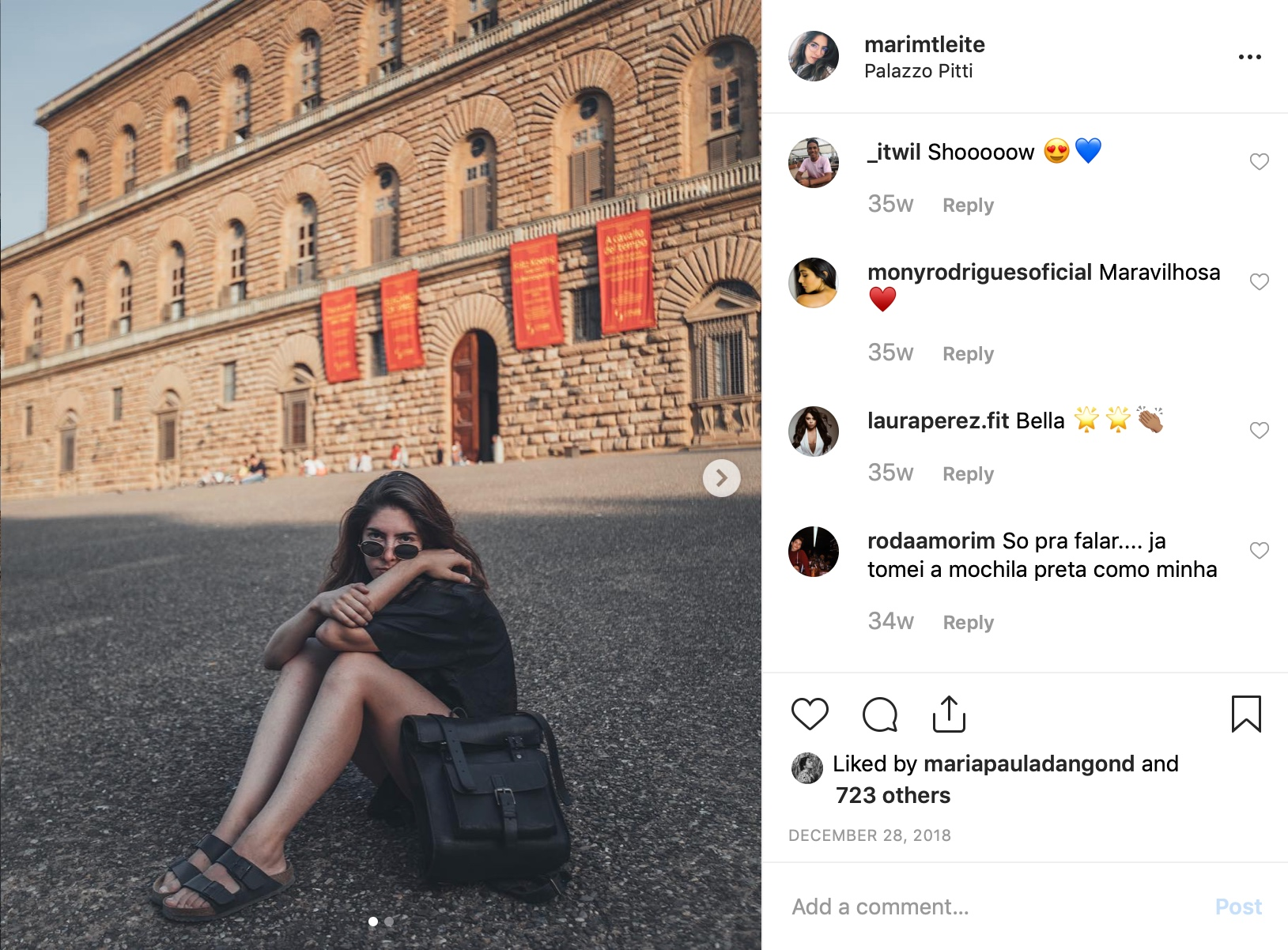 Girl in Florence wearing BennyBee handmade luxury leather backpack with roll top closure and vintage style