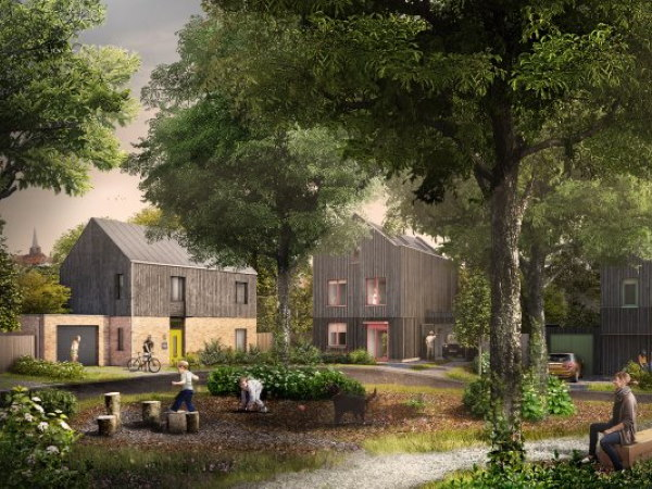 Pound Lane  is a custom build development of 12 houses Laindon, Essex, in collaboration with three award winning architects set within a mature woodland.