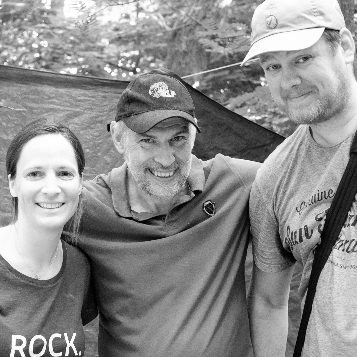 Julie, Patrick and myself, photographed by a refugee boy with my camera.