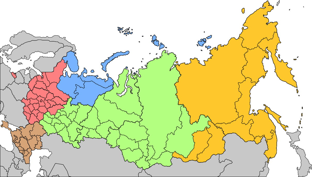 Russian Military Districts  RED = WEST BROWN = SOUTH GREEN = CENTER ORANGE = EAST BLUE = NORTH (STRATEGIC DIRECTION, NOT DISTRICT)