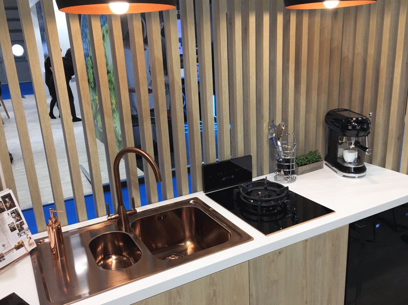 SMEG rose-copper 1.5 bowl sink and tap.