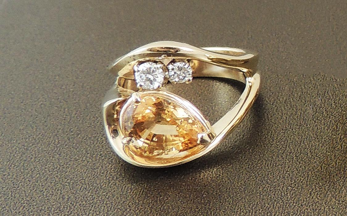 Hessonite Garnet Ring- Before