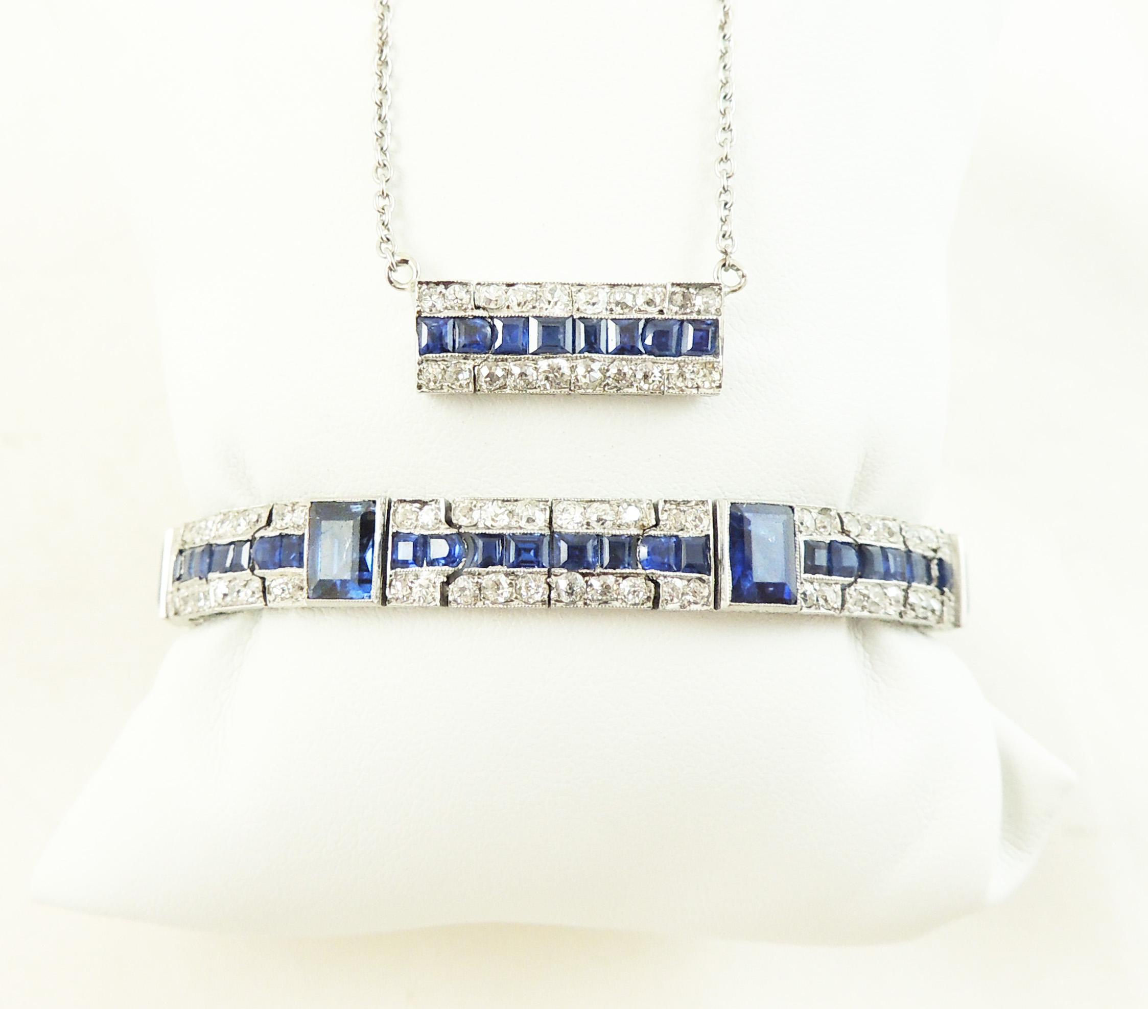 Heirloom Platinum Sapphire & Diamond Bracelet- After
