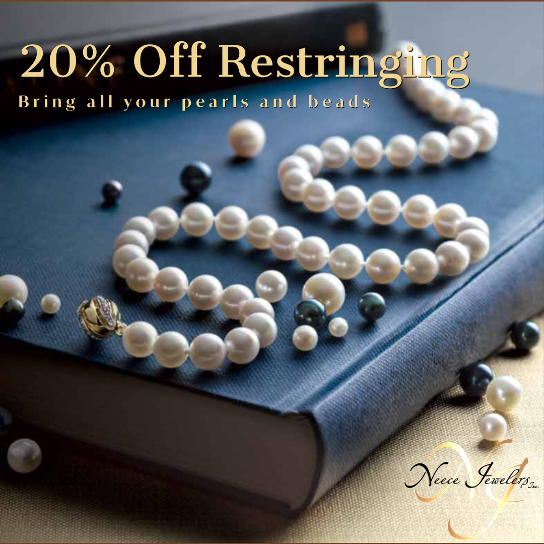 10/1-10/31 Bring in your pearls and beads to have them restrung or reknotted.
