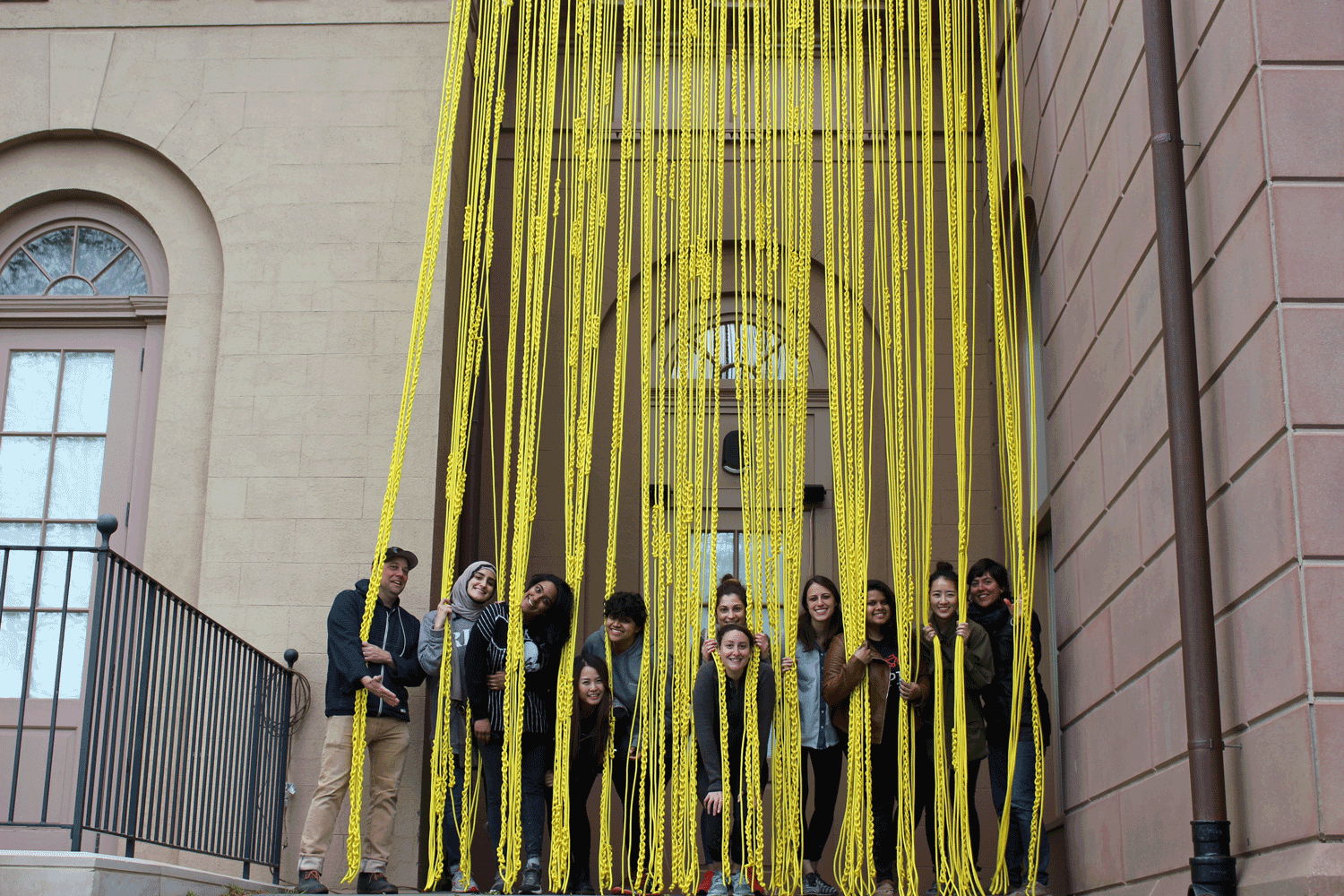 MA 2016  YELLOW ROPE  INSTALLATION  AT THE REDWOOD LIBRARY AND ATHENAEUM