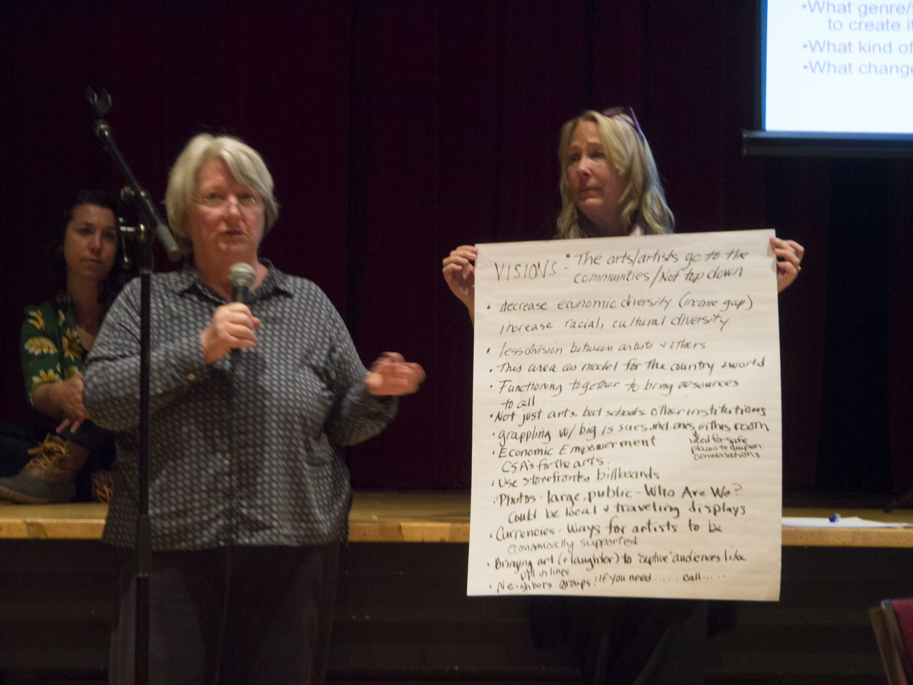 Writer Jan Maher presents the culmination of her group's brainstorming session with Eggtooth Productions director Linda McInerney. - [Trish Crapo photo.]