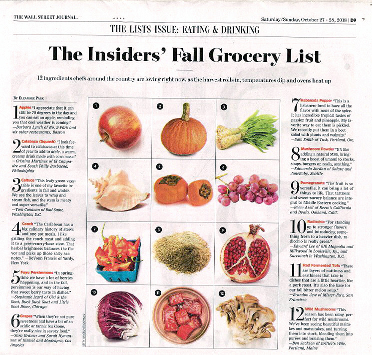 THe Wall street journal - 12 Ingredients on the Insiders' Fall Grocery List: Conch