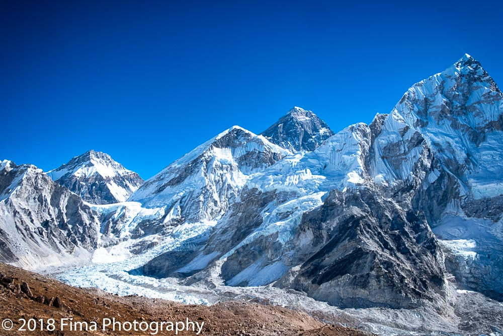 Everest - The base camp is at the lower left corner.I am above base camp.