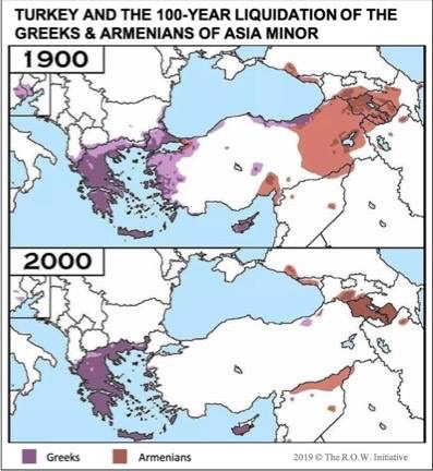 100 year population diaspora declines of Greeks and Armenians in and around Asia Minor. Greeks are in purple, Armenians are in red.