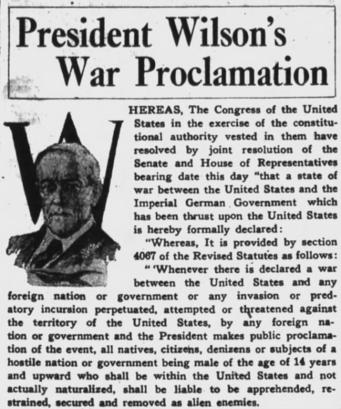 On April 2, 1917, President Woodrow Wilson asked Congress for a declaration of war, beginning WWI. Ken was 11 years old. -