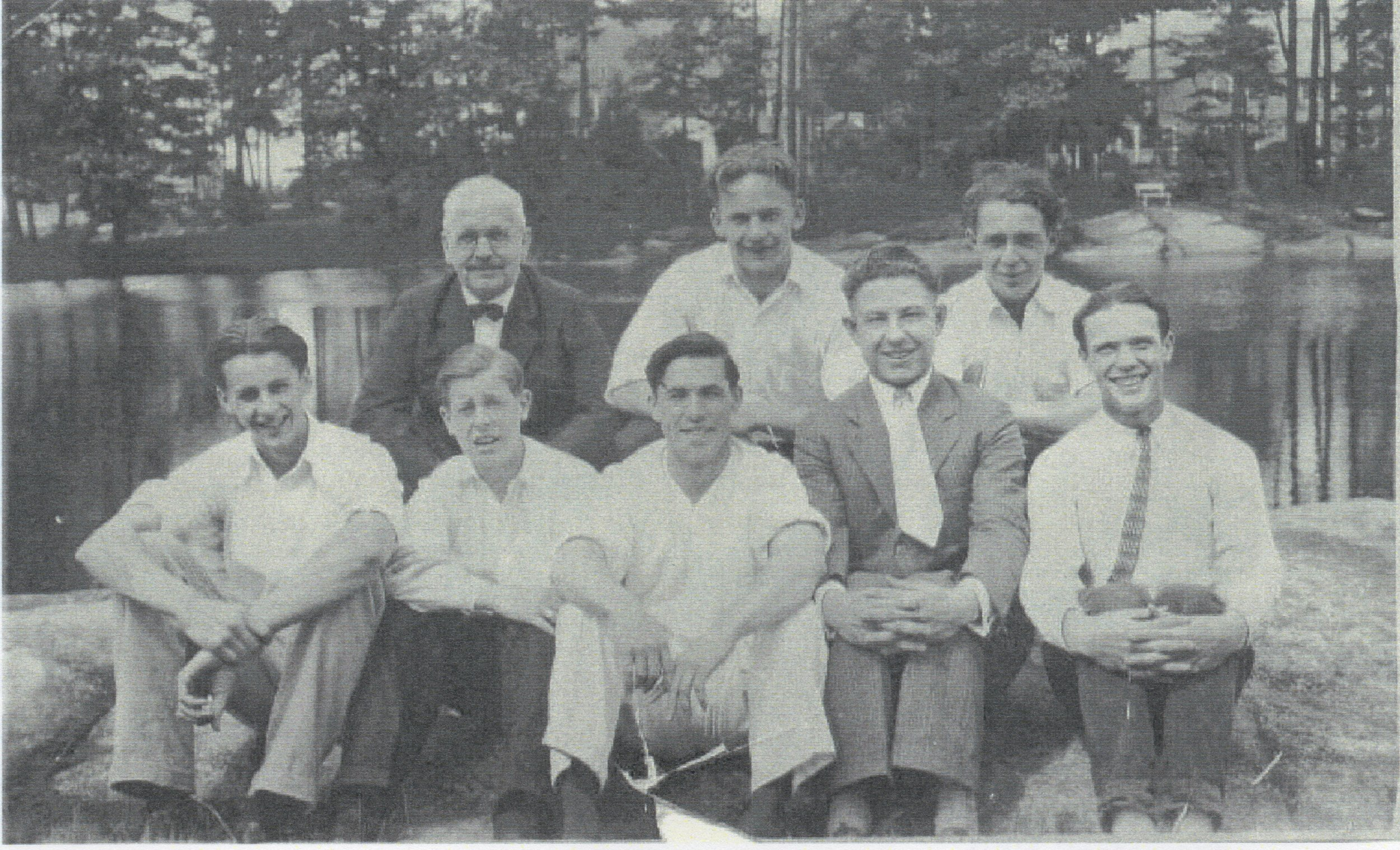 ca. 1928 Mt. McGregor lunch- Ken Petteys (front row, 2nd from right)