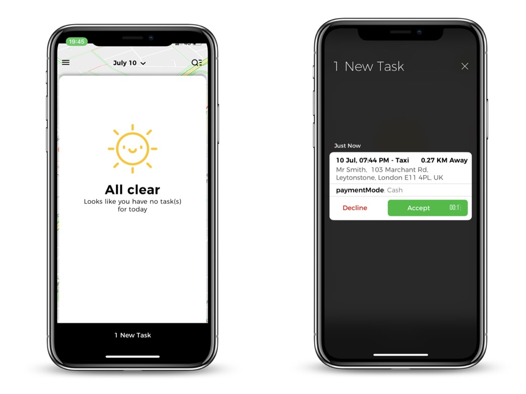 A new task will appear at the bottom of the screen if the app is open. If the App is minimized, the notification may appear as a push notification. Once you click on the job, you can then Accept or decline the job.