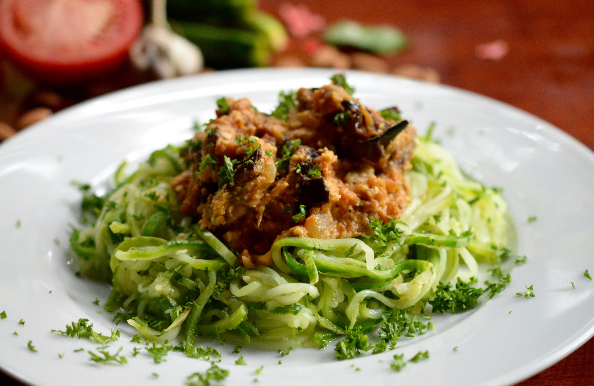 Roasted Eggplant & Caramelized Onion Almond Ricotta Spicy Marinara over Zucchini Spaghetti.jpg