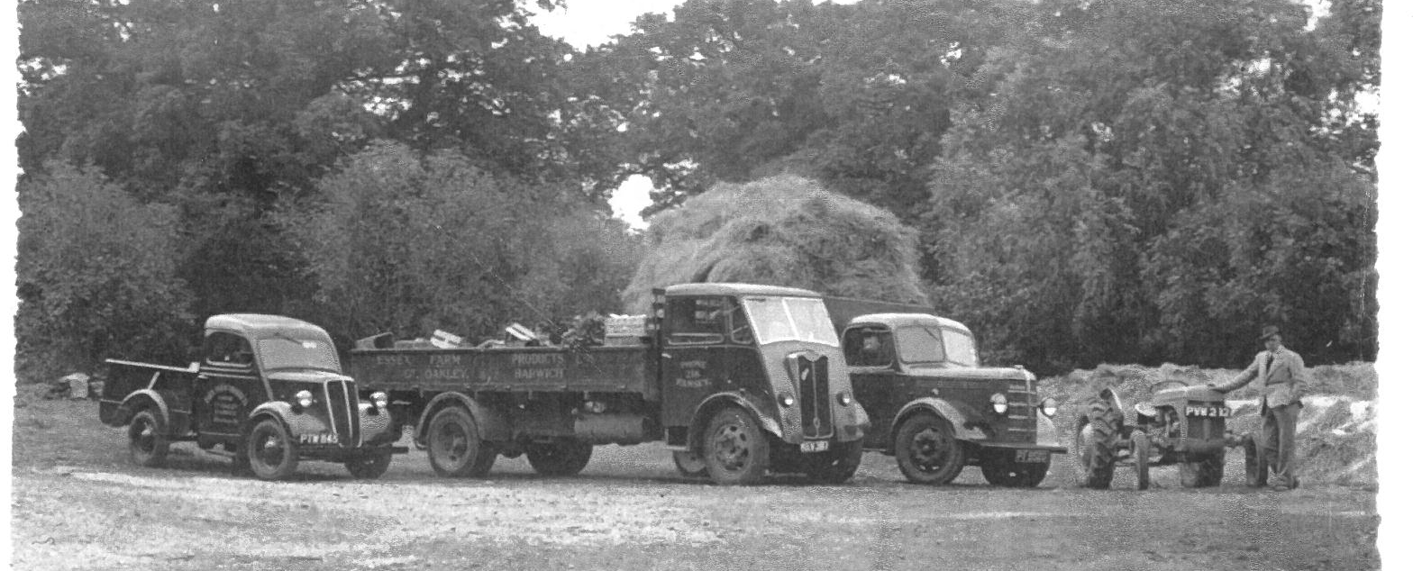 George Thompson and his fleet of vehicles in the early 1950s.
