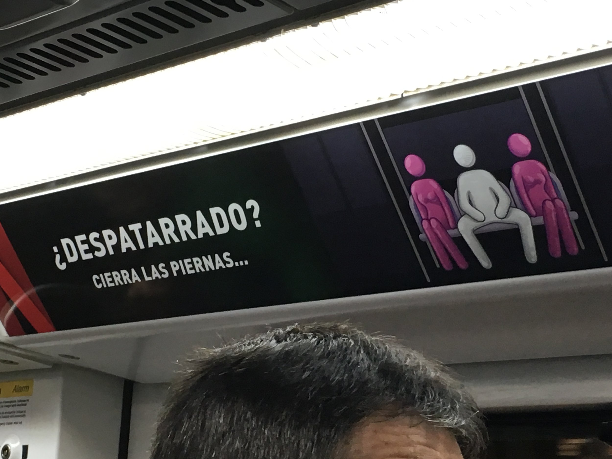 Spanish for close your damn legs - which, ironically, could also be rape culture because we should be allowed to have our legs open