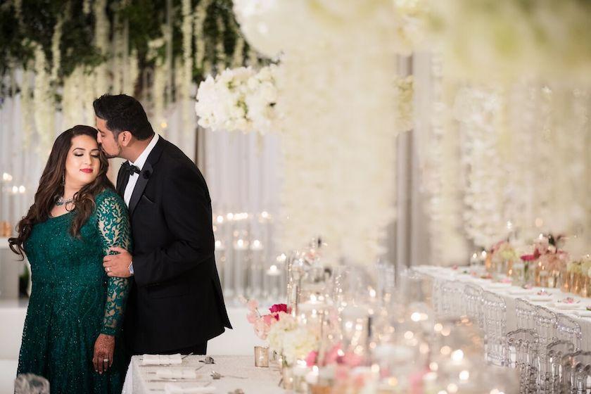 newlyweds, bride and groom, indian wedding, wedding flowers, shawna yamamoto, wedding design, wedding, wedding flowers