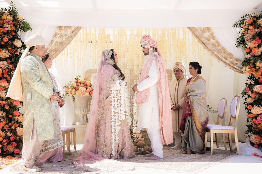bride and groom, wedding ceremony, indian wedding ceremony, ceremony, shawna yamamoto, floral design, event design