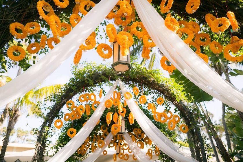 orange flowers, wedding flowers, indian wedding, wedding, flowers, shawna yamamoto