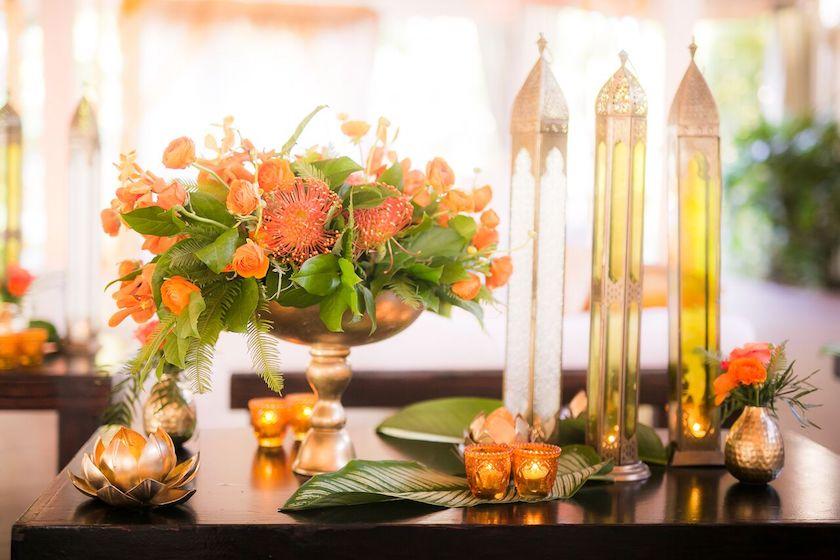 centerpiece, wedding flowers, indian wedding, orange flowers, shawna yamamoto