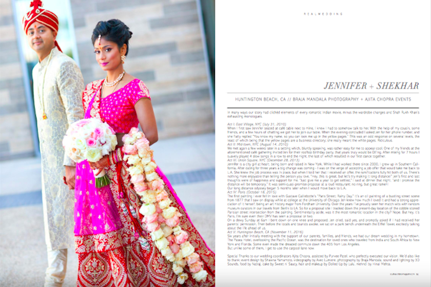 south asian bride magazine, magazine, press, shawna yamamoto, event design, floral design