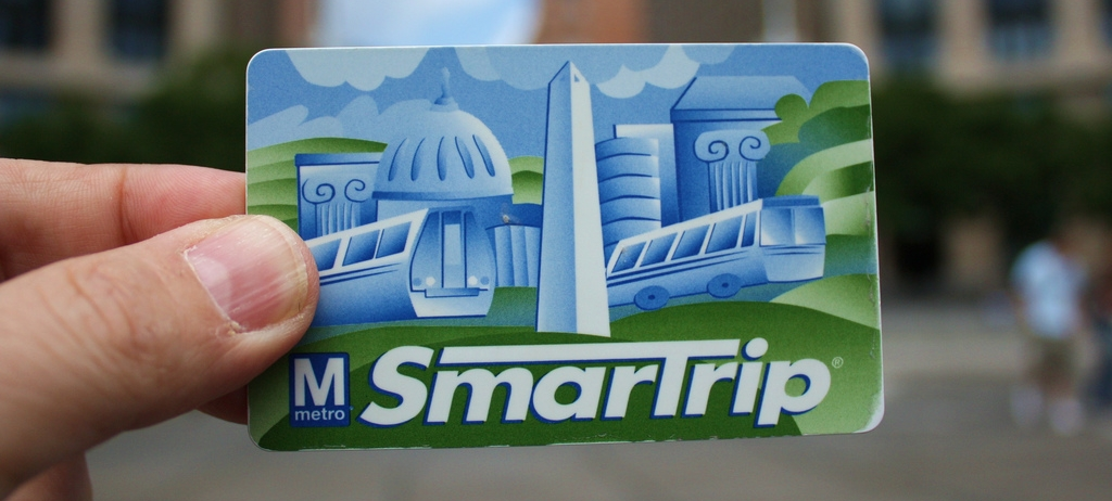 Close-up of DC Metro Smartrip Fare Card in Someone's Hand