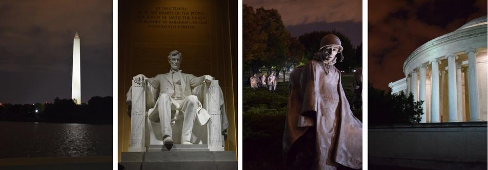 Washington Monument, Lincoln Memorial, Korean Memorial, and Jefferson Memorial at Night