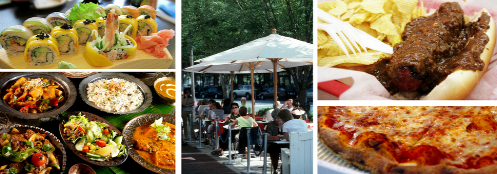 Collage of Indian Food, Sushi, Pizza, a Half Smoke Sausage, and Outdoor Dining