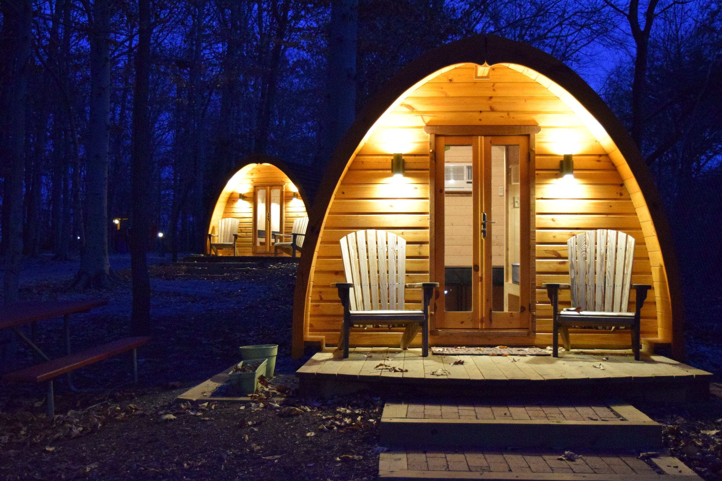 Glamping Pods at Night - Camping at Cherry Hill Park