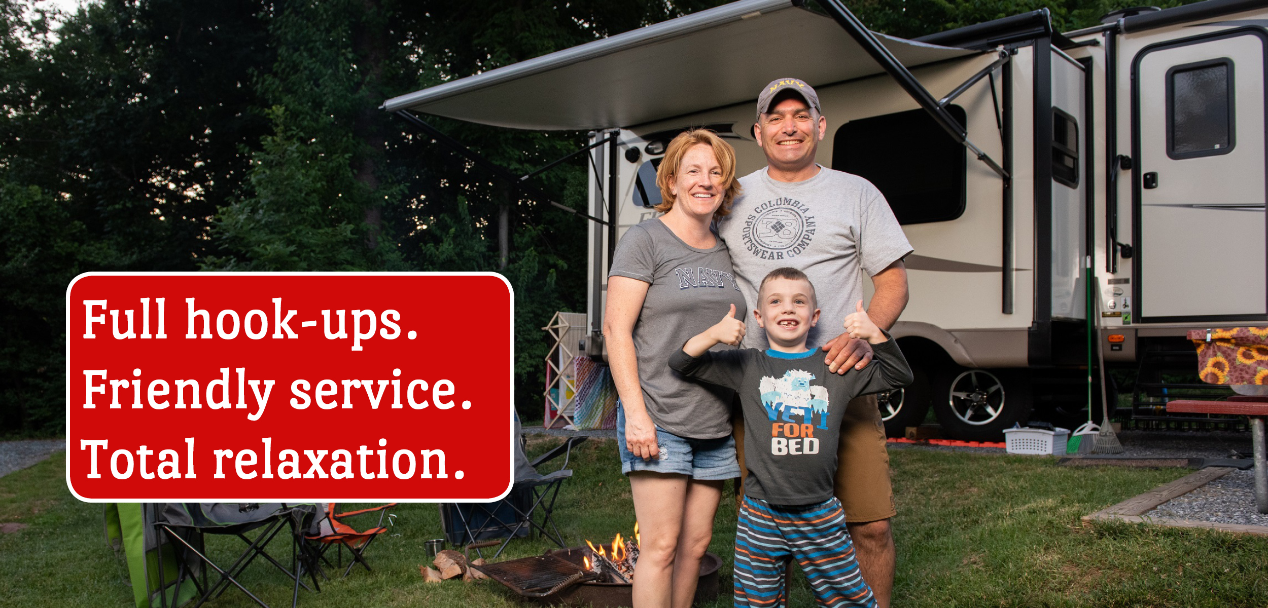 Family Camping at RV Site (Full Hook-ups. Friendly Service. Total relaxation.)