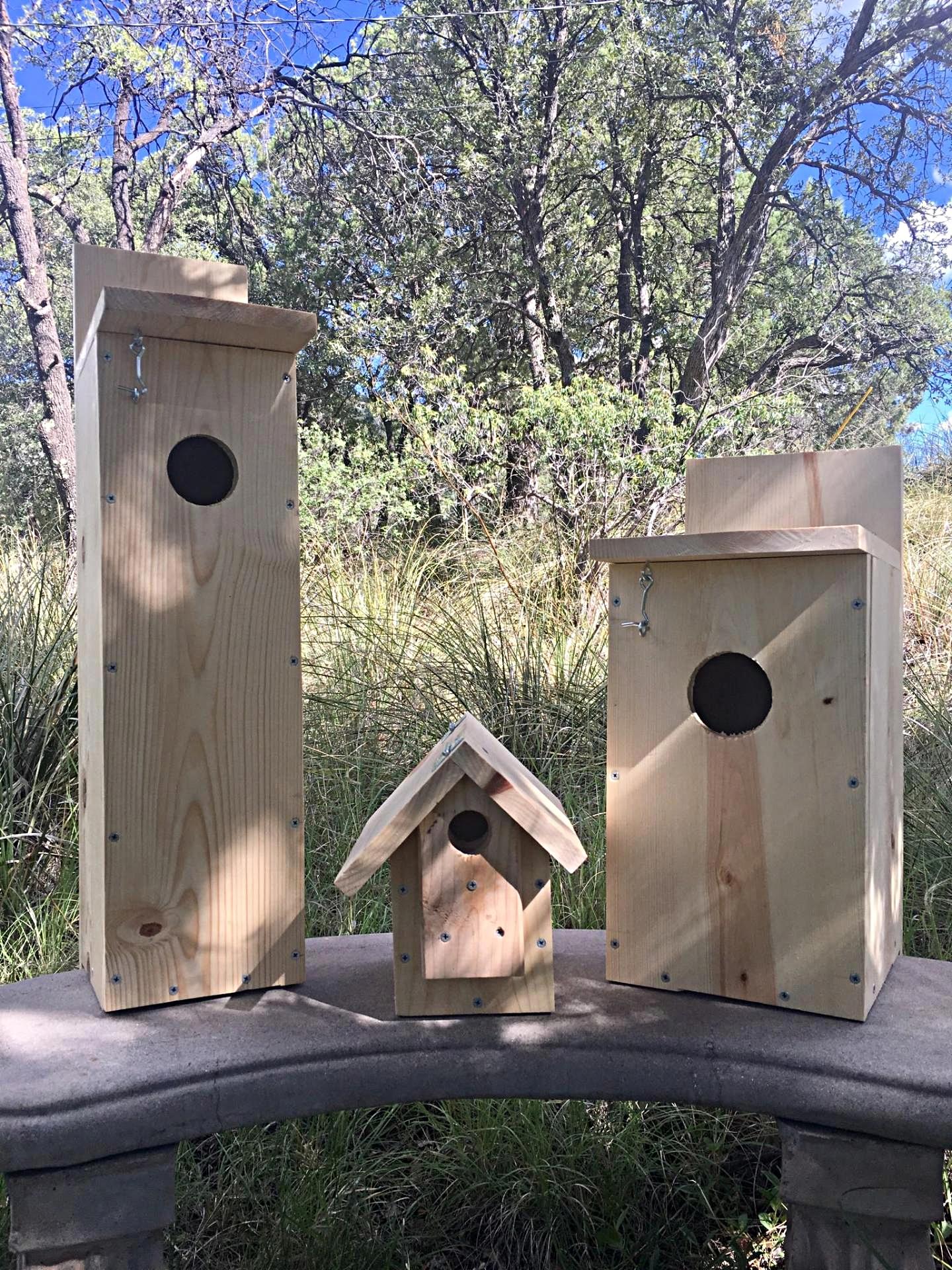 Left: Flicker Nest Box; Center: Song Bird Nest Box; Right: Owl Nest Box