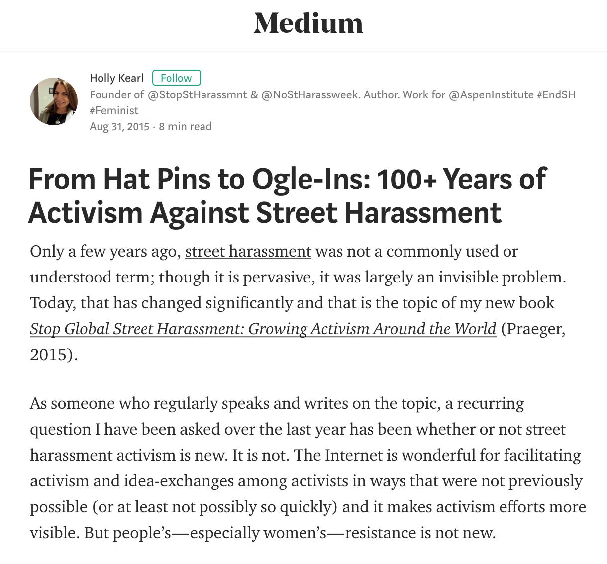 Medium Article by Holly Kearl, 2015