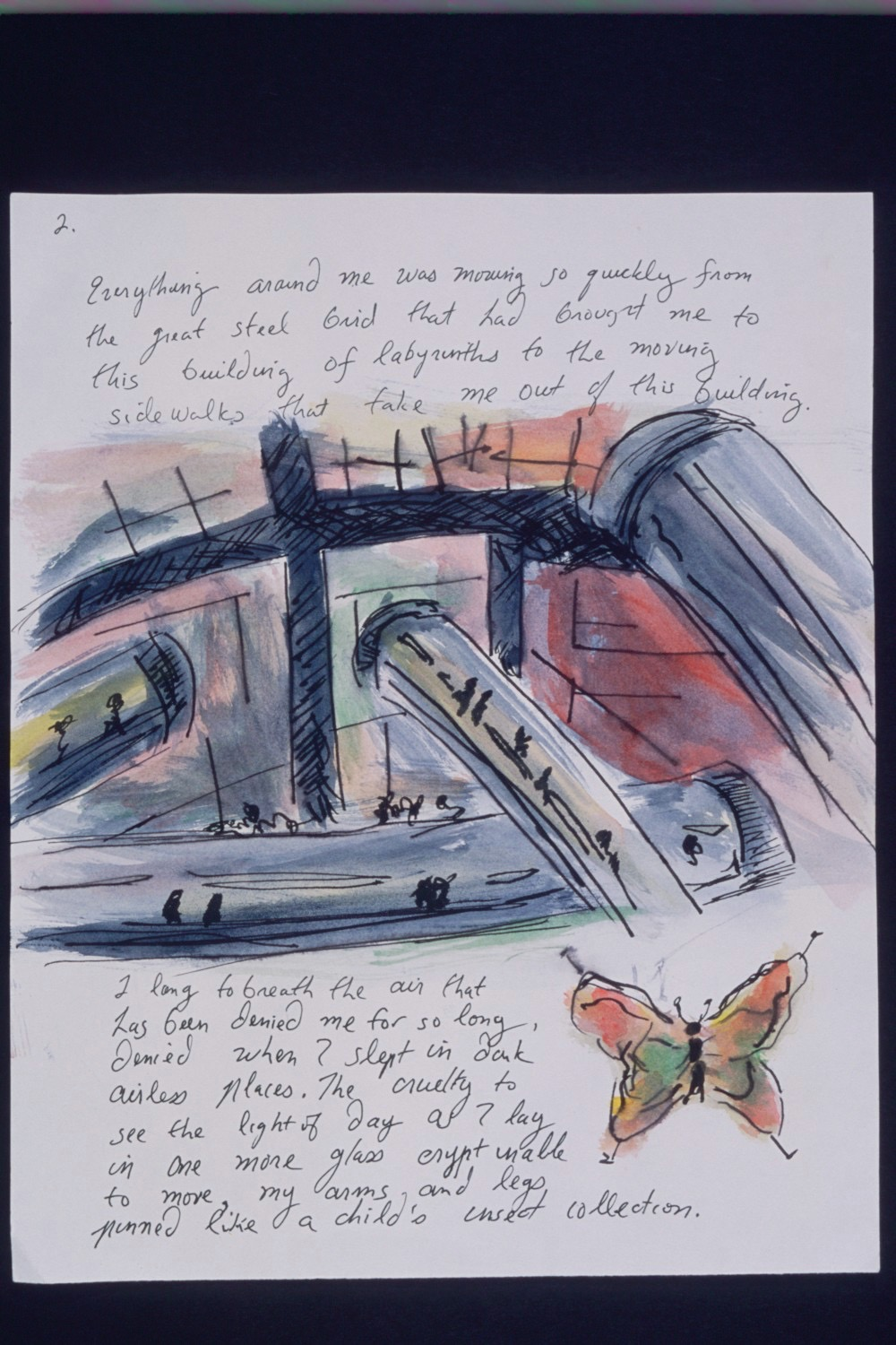 """""""Neo, Neo"""" (fowl smelling in Tahitian), Zombie's Journal Page, fictional writing and watercolor on paper,12""""x 9"""""""