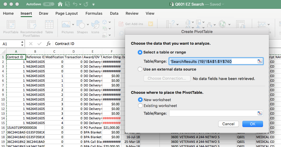 Finding the Pivot Table Button on the Insert Ribbon in MS Excel