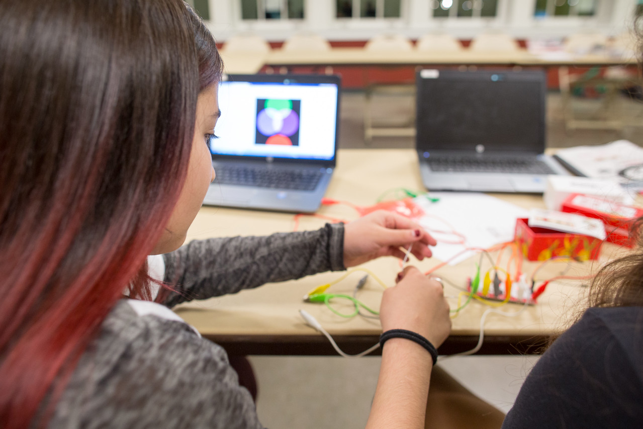 Coding to create art as a team, students use the computer as another medium for their art and creativity. The screen is their canvas and coding is their pen! Leonel Castillo BakerRipley Community Center, Fall 2017.