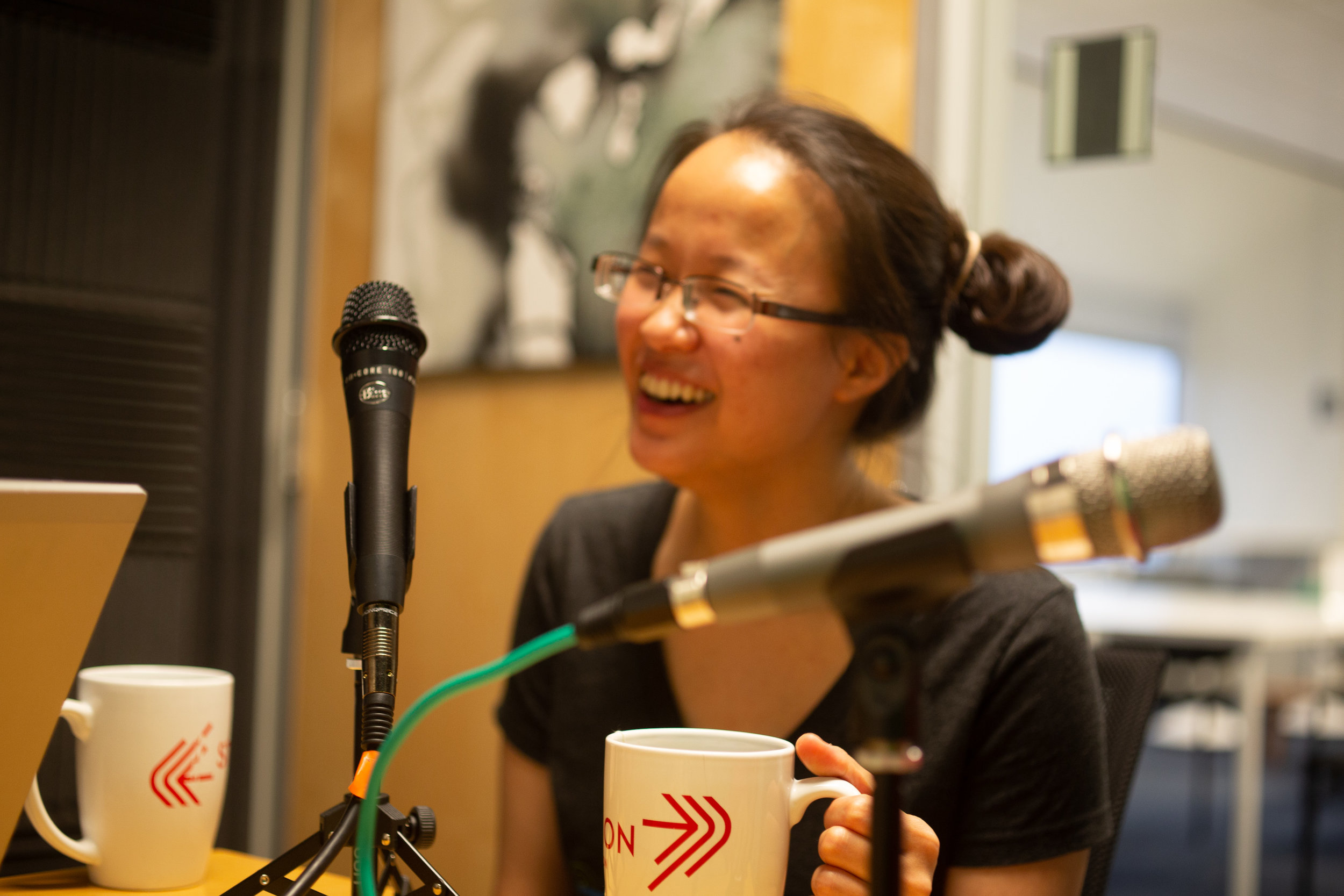 Amanda Shih, cofounder of Code Park Houston, speaks her mind while recording a podcast at Station Houston. July 11th, 2018. Courtesy of Wanjun Zhang.
