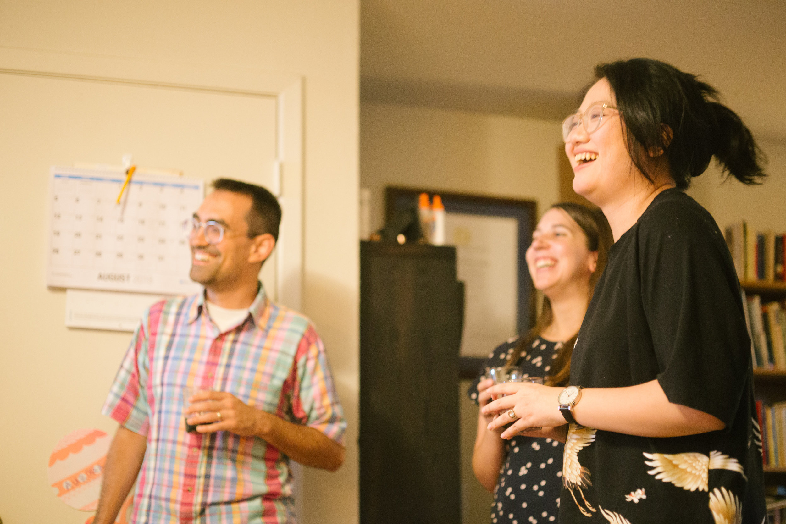 Ben, Lanny, and Erica sharing a laugh at our team welcome dinner hosted by Bonnie and Ben. Courtesy of Wanjun Zhang. August 24th, 2018.