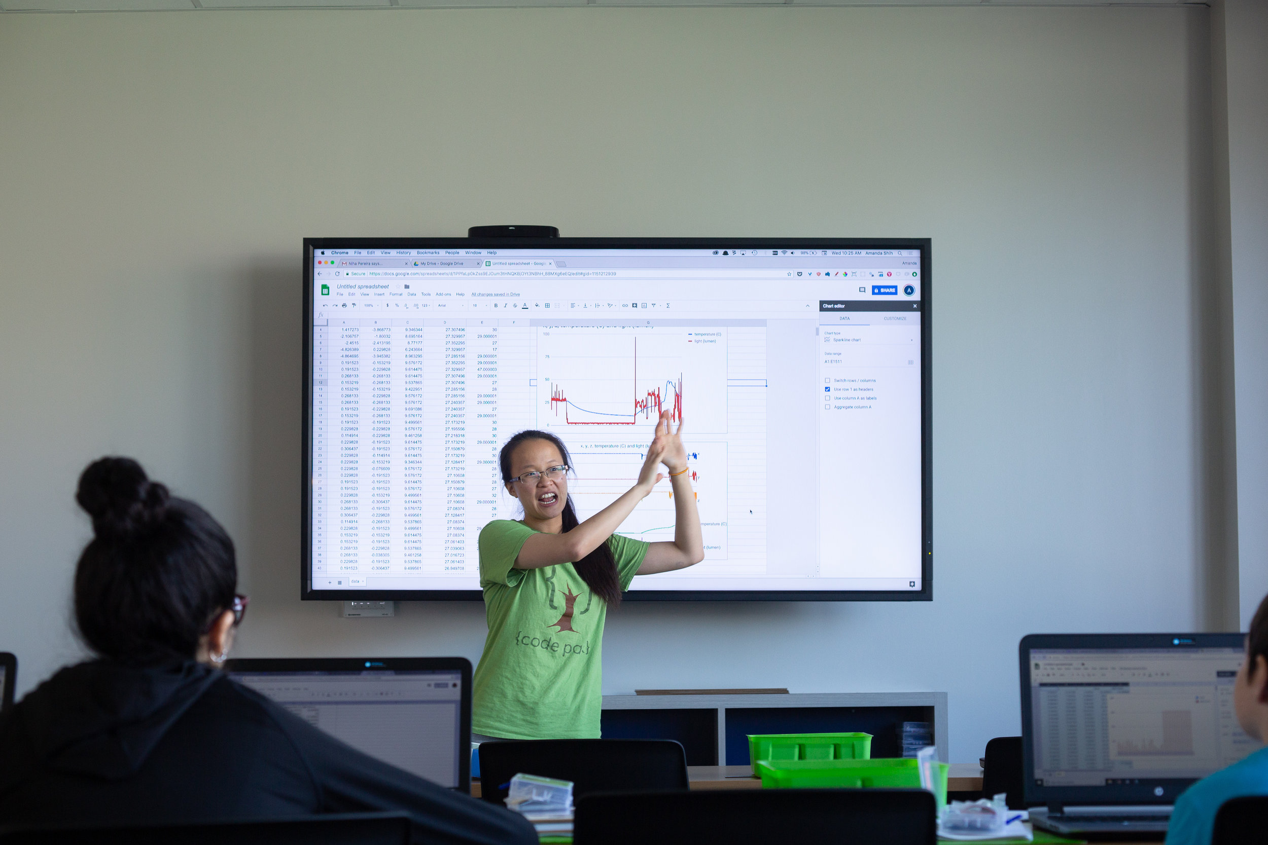 In Invent to Learn, students program a circuit board to gather temperature, light, and accelerometer data at home. Amanda shows how to make sense of environment data collected with simple visualization tools on google sheets. At Fab Lab Houston. Courtesy of Wanjun Zhang. August 8th, 2018.