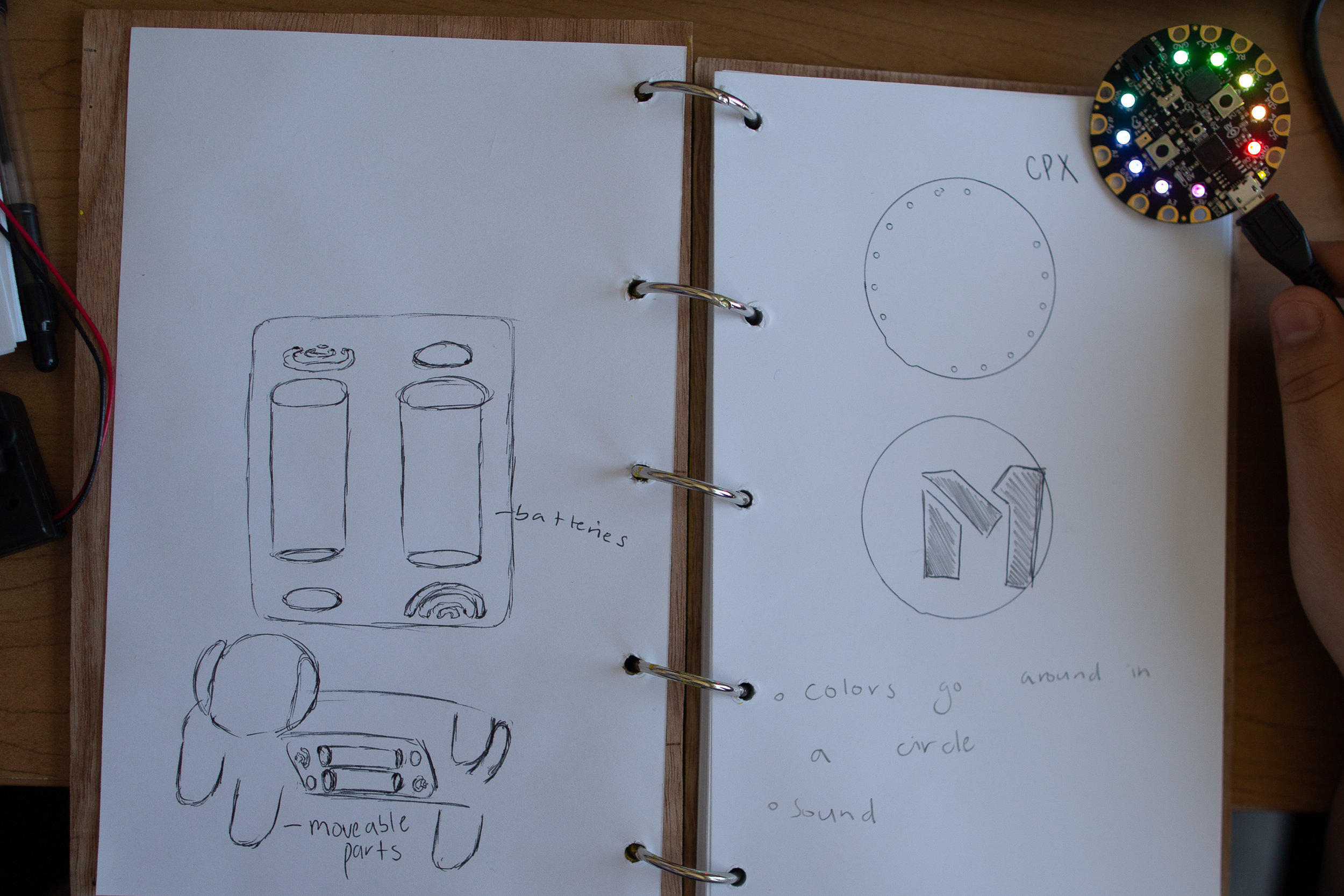 Example : A student's design journal in Code Park's Invent to Learn Program at Fab Lab Houston. She is prototyping a design by describing the behavior of her circuit board as well as making a drawing of a 3D printed design. July 2018. Courtesy of Wanjun Zhang.