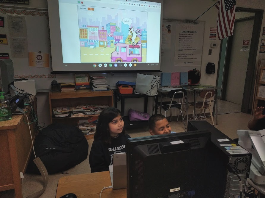 Students to create a game at Gallegos Elementary's creative coding club! Courtesy of Hannah Chang. April 4th, 2019.