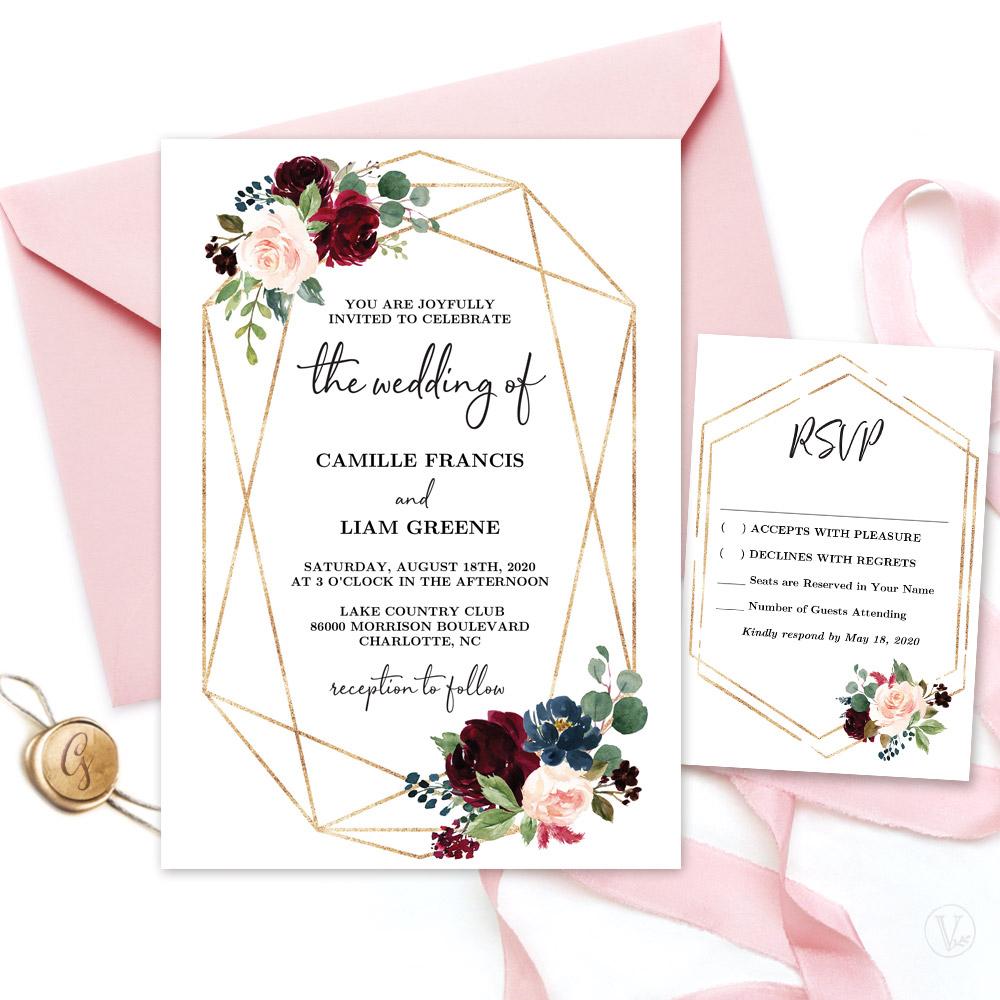 Marsala Floral Invitation Set