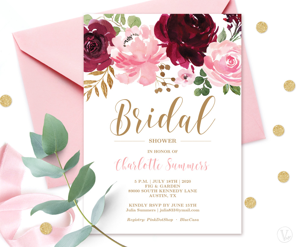 Burgundy Pink BridalShower Invitation Card