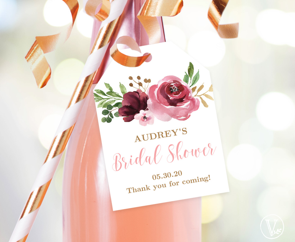 Burgundy Pink Bridal Shower Favor Tags