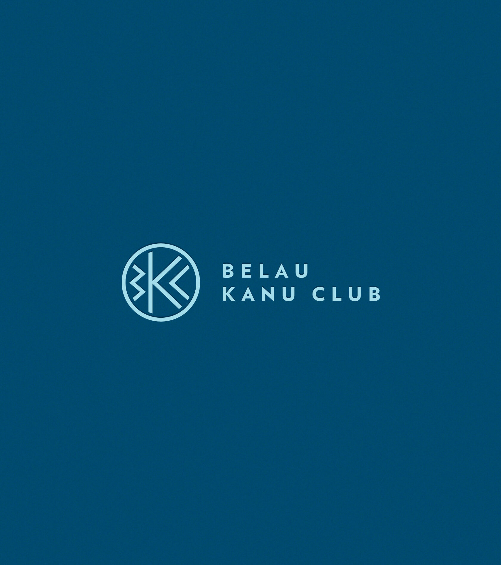 belau kanu club primary logo lock up on navy blue background