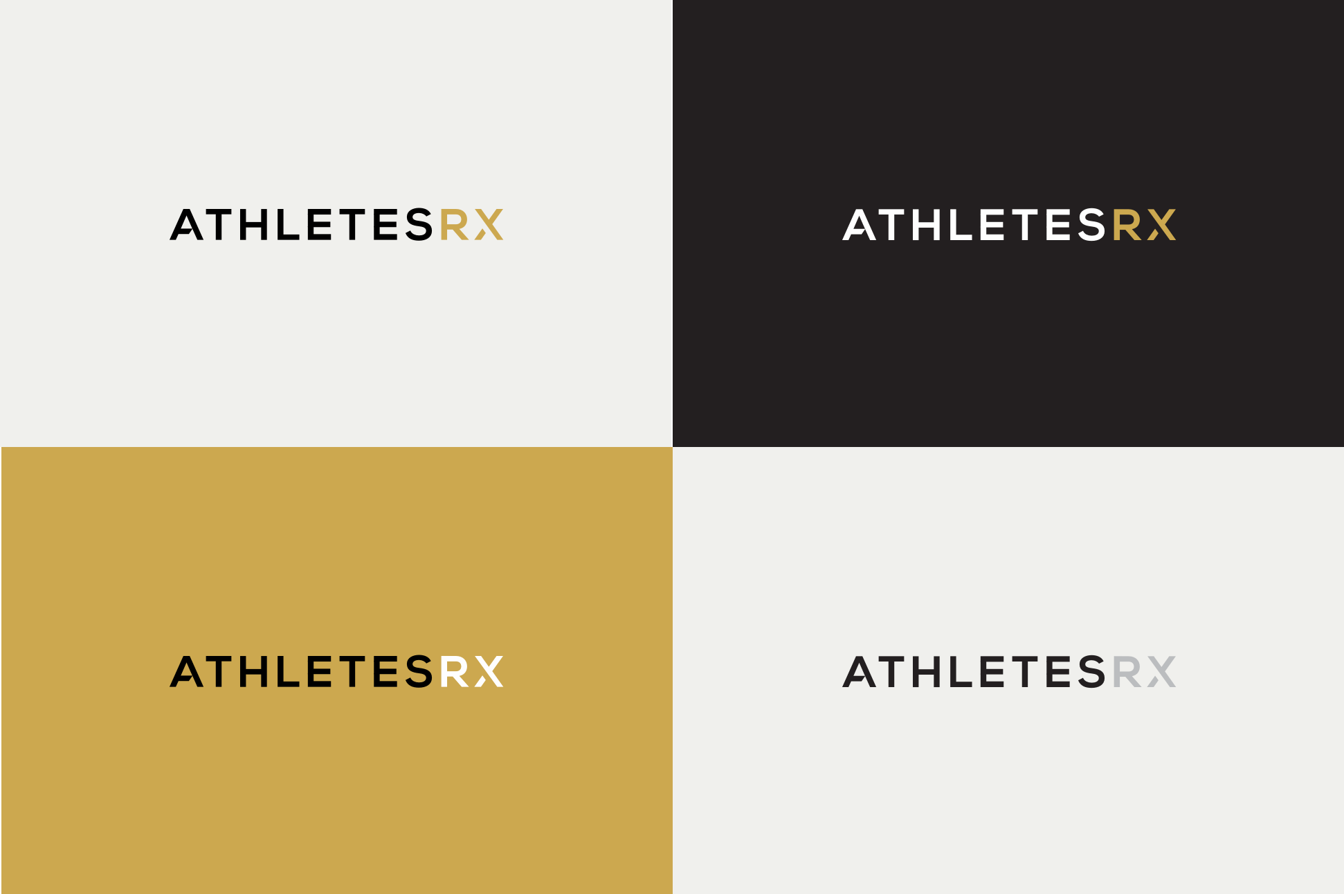 Athletes Rx Logo variation sin black, white and gold