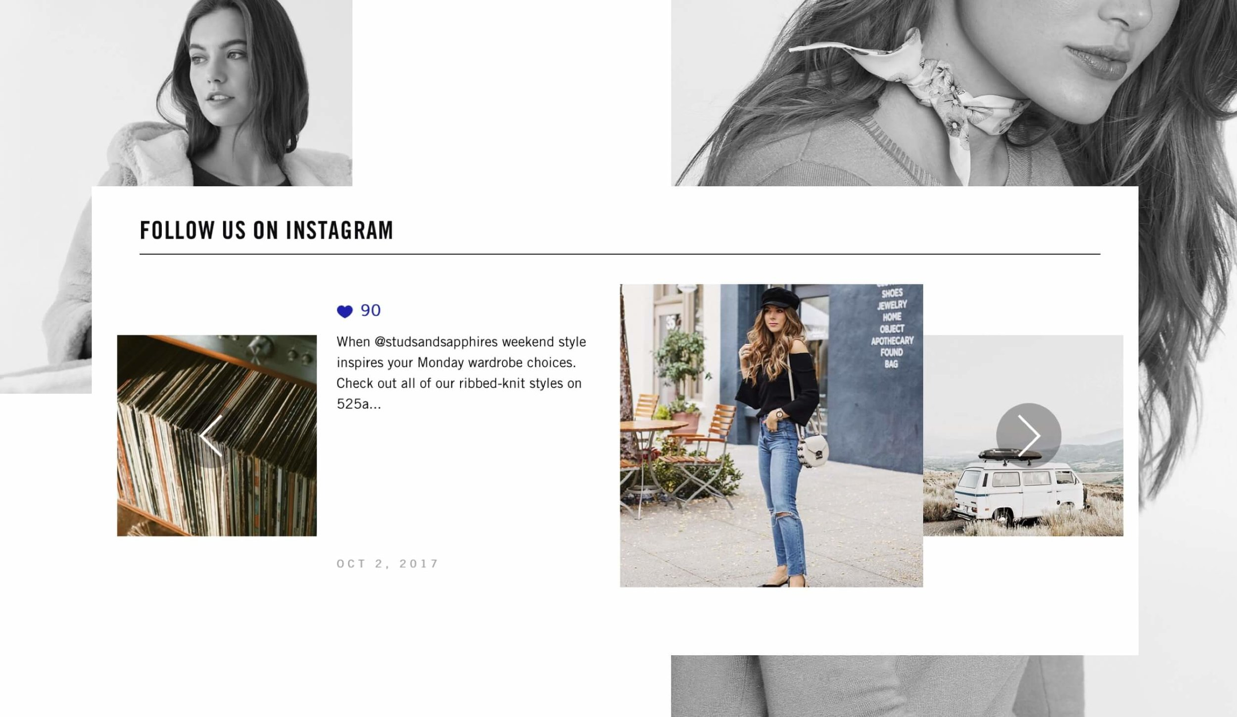 525 America Instagram account with street style model