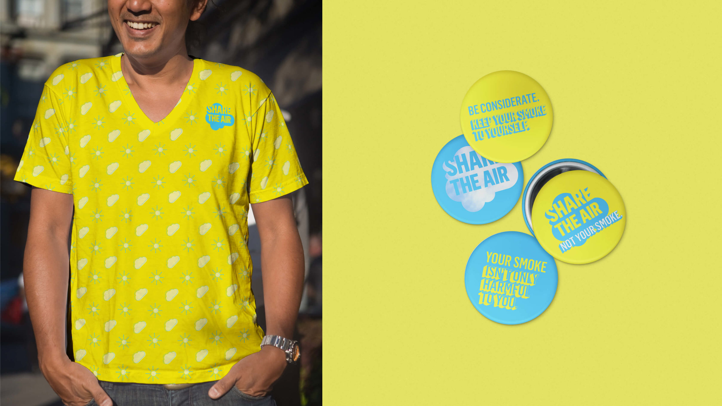 Share the Air buttons and t-shirt on Pacific Islander